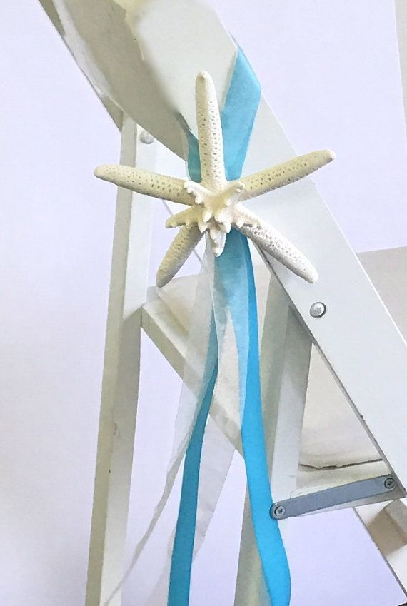 Beach Wedding Decor Starfish Chair Decoration With Satin U0026 Sheer Ribbons    24 Ribbon Choices   Beach Ceremony Beach Wedding Table Reception