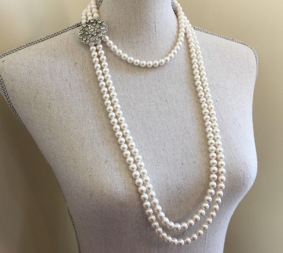 زفاف - Long Pearl Flapper Necklace and Earrings Set 3 multi strands Swarovski Pearls Rhinestone Brooch Focal Great Gatsby Downton Abbey 1920s Deco
