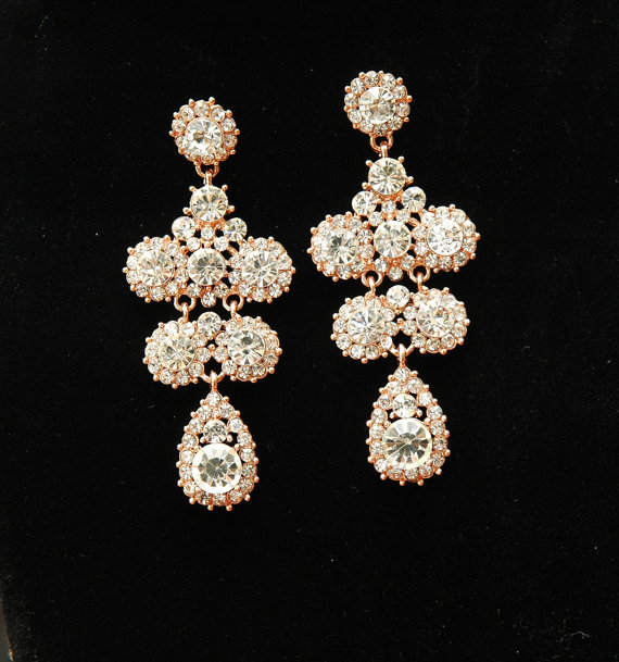 Mariage - Chandelier Rose Gold Earrings, Wedding Earrings, Bridal Earrings, Chandelier Earrings, Teardrop Rhinestone Earrings, Wedding Jewelry
