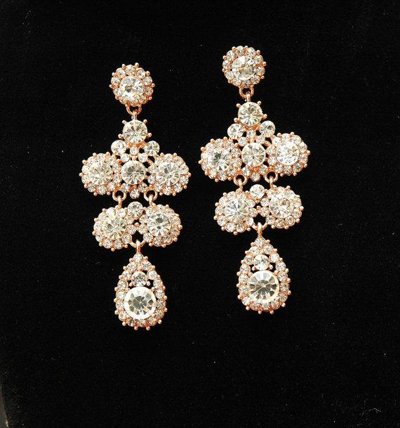 Wedding - Chandelier Rose Gold Earrings, Wedding Earrings, Bridal Earrings, Chandelier Earrings, Teardrop Rhinestone Earrings, Wedding Jewelry