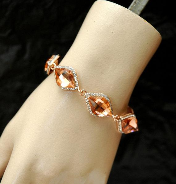 Mariage - Blush Rose Gold Bracelet, Crystal Bracelet, Bridal Bracelet, Wedding Jewelry, Rose Gold Jewelry