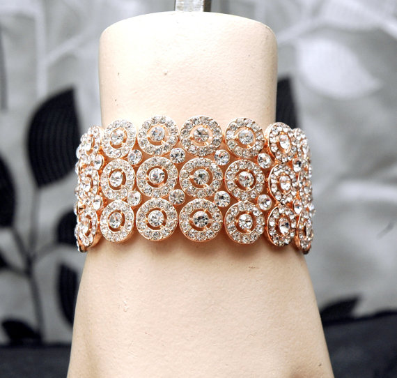 Mariage - Rose Gold Wedding Bracelet, Bridal Cuff Bracelet, Rhinestone Rose Gold Bracelet, Rose Gold Jewelry, Wedding Accessories
