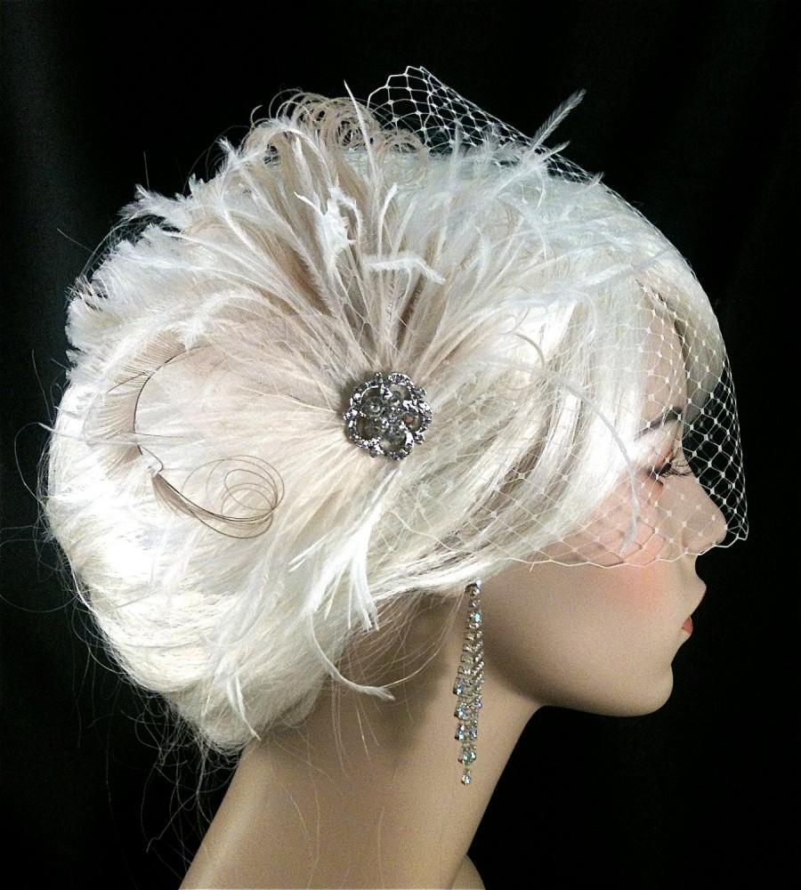 Свадьба - Bridal Fascinator, Feather Wedding Head Piece, Feather Fascinator, Bridal Hair Accessories, Bridal Veil Set, Gatsby Wedding, Great Gatsby