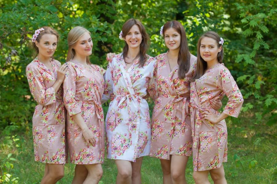 Dusty Rose Bridesmaids Robes. Kimono Robes. Bridesmaids