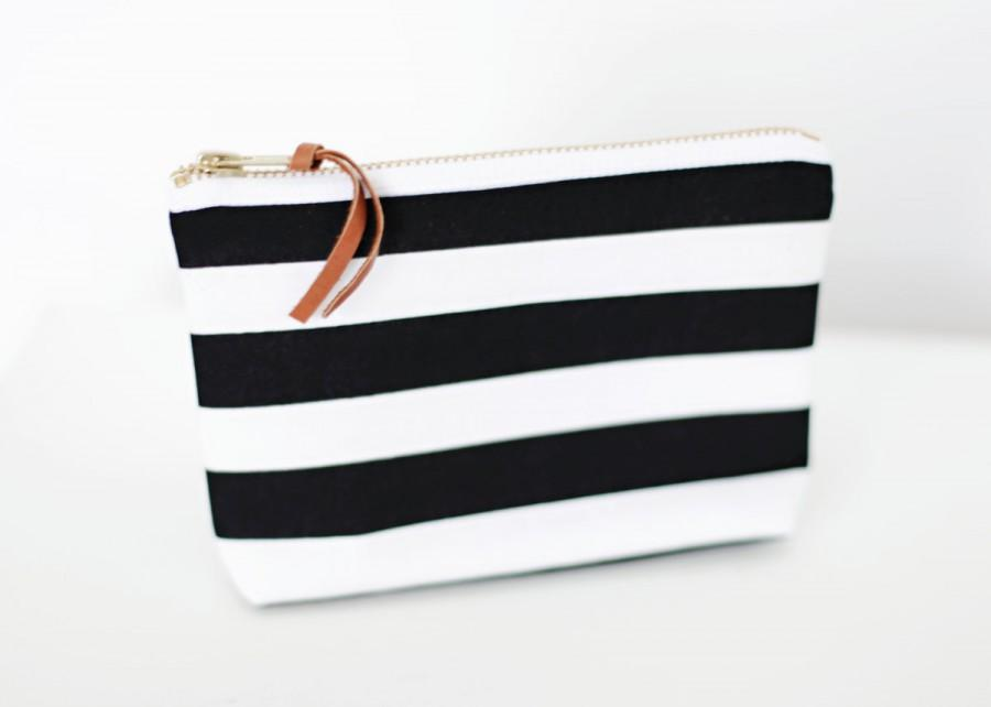 Mariage - Black and White Stripe Makeup Bags, Bridesmaid Gift, Cosmetic Bag