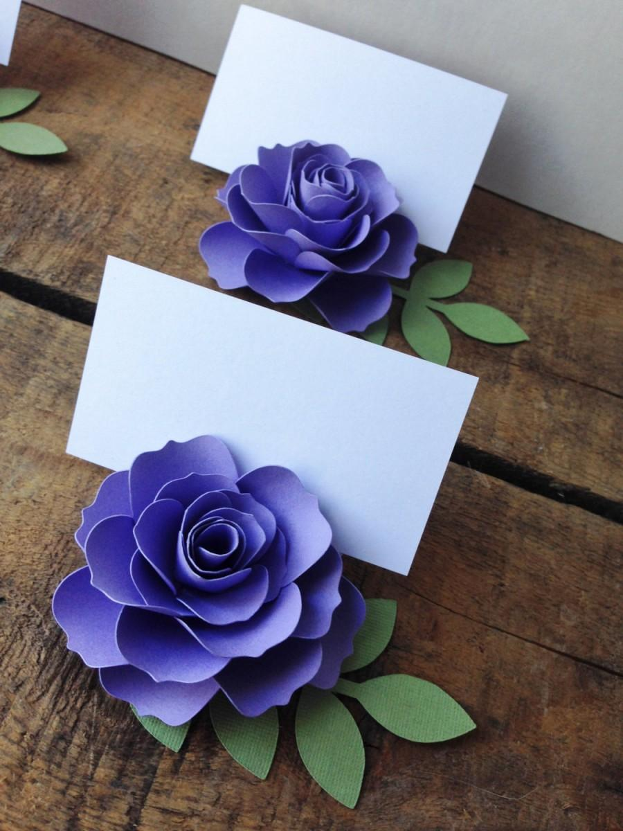 Purple Lavender Paper Flower Place Cards