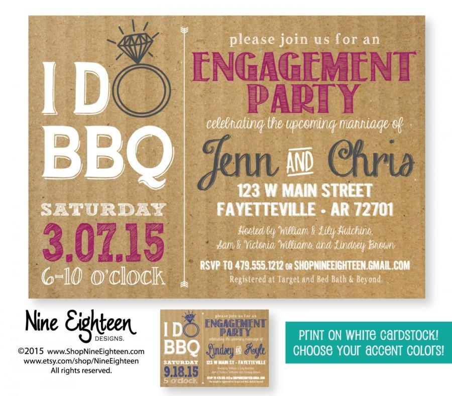 Wedding - Engagement Party invitation. I design, you print. Choose your accent colors.