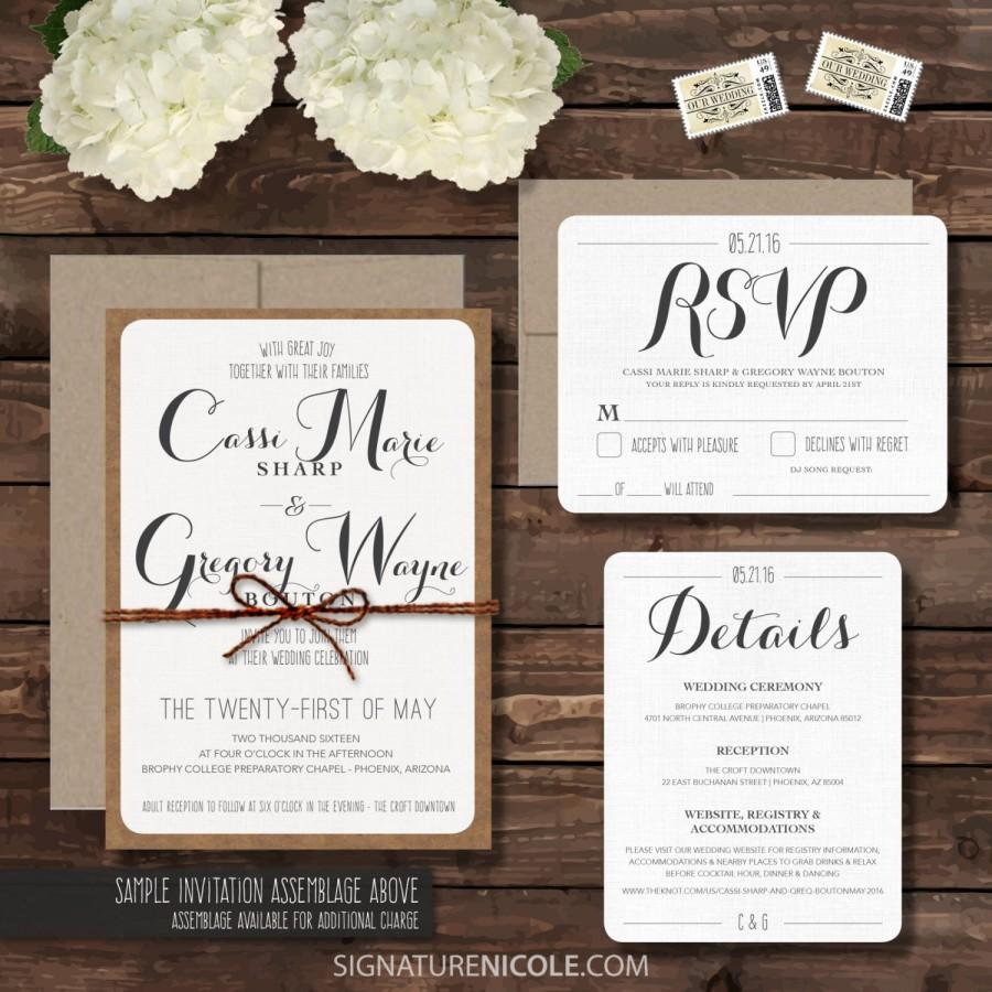 rustic wedding invitation with rsvp and detail cards wedding invitation set organic barn farm simple elegant style set of 25 - Wedding Invitation Details Card