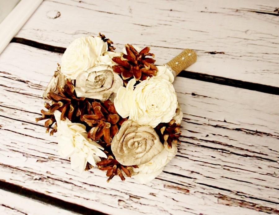 Mariage - Winter wedding rustic wonderland small bridal bridesmaid BOUQUET Cream Flowers, pine cones,  sola roses,  lace pearl pins