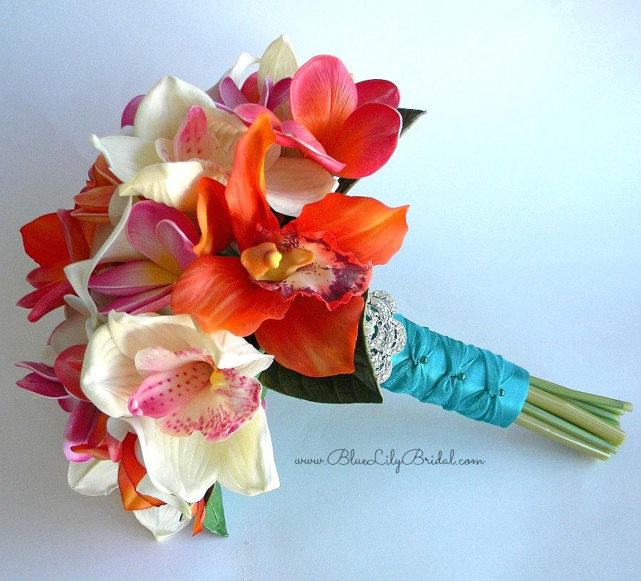 Sunset Beach Tropical Bridal Bouquet With Real Touch Orchids