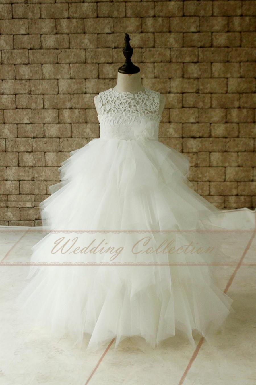 206aeefa5cf Layered Ivory Lace Tulle Flower Girl Dress With Flower Tulle Waitband Floor  Length