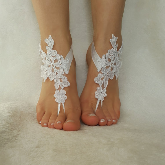 Wedding - snow white free ship beach wedding barefoot sandals embroidered country wedding bridesmaid gift unique foot accessory bellydance steampunk