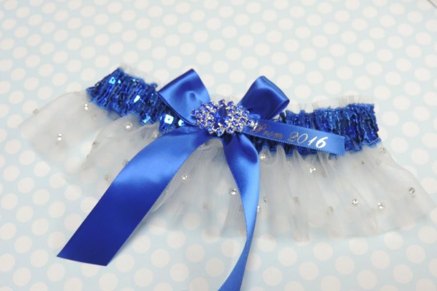 Свадьба - Rhinestone Royal Prom Garter,  Royal Blue Prom Garter,  Prom Garters