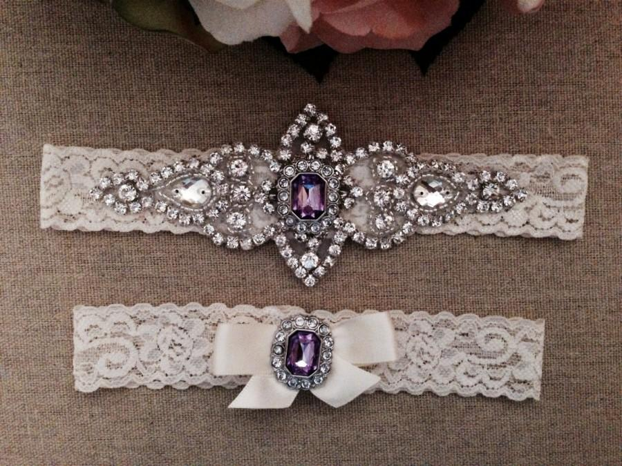 Свадьба - Wedding Garter - Bridal Garter - Ivory and Light Purple Crystal Rhinestone Garter and Toss Garter Set