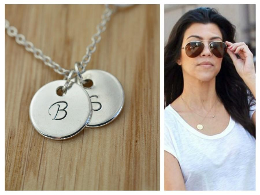 fa945133689e7 Sterling Silver Initial Disc Necklace, Monogram Disc Necklace ...
