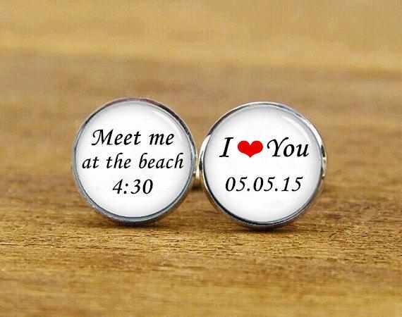 Свадьба - meet me at the beach cufflinks, i love you cuff links, custom name or date, custom wedding cufflink, round, square cufflinks, tie clips, set