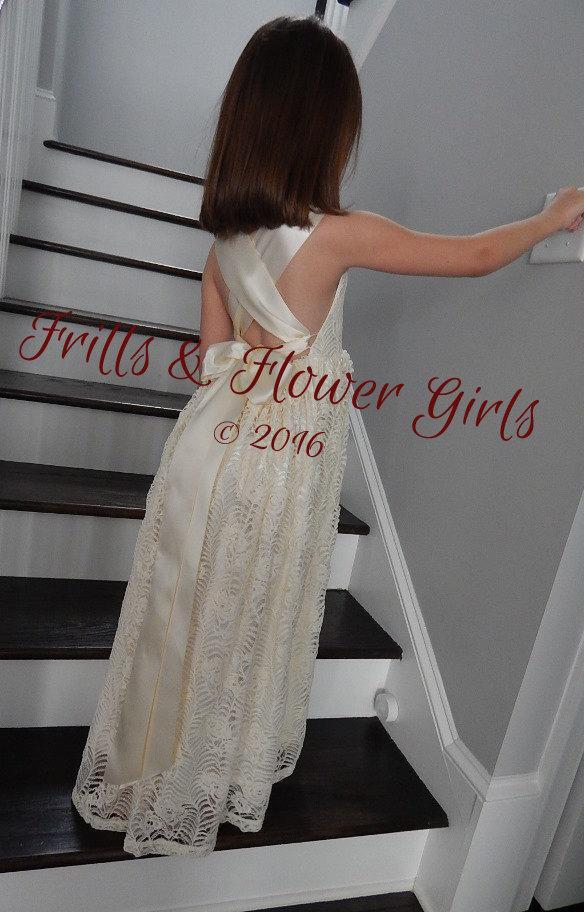 510a26686 Boho Flower Girl Dress Ivory Lace Boho Flower Girl Dress Ivory Halter Boho Dress  Girls Junior Bridesmaid Dress Sizes 2T up to Girls Size 10