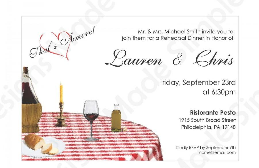 Wedding - Italian Rehearsal Dinner Invitation - Printable