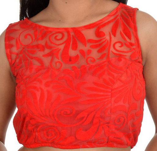 Wedding - Red Lovely Embroidery Designer Blouse