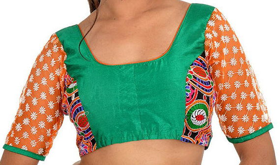 Wedding - Green Blouse with Net Sleeves Designer Saree Blouse