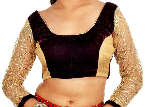 Wedding - Golden Net Readymade Blouse with Mehroon Velvet