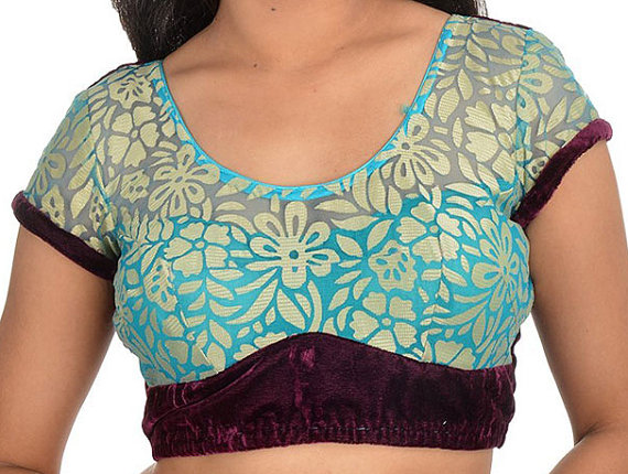 Mariage - Beautiful Blue Color Brocade Saree Blouse with flower Wedding Blouse