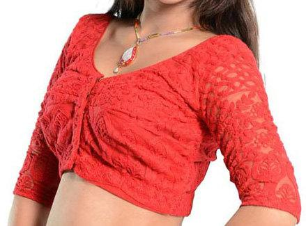 Свадьба - Red Net Embroidery Readymade Saree Blouse