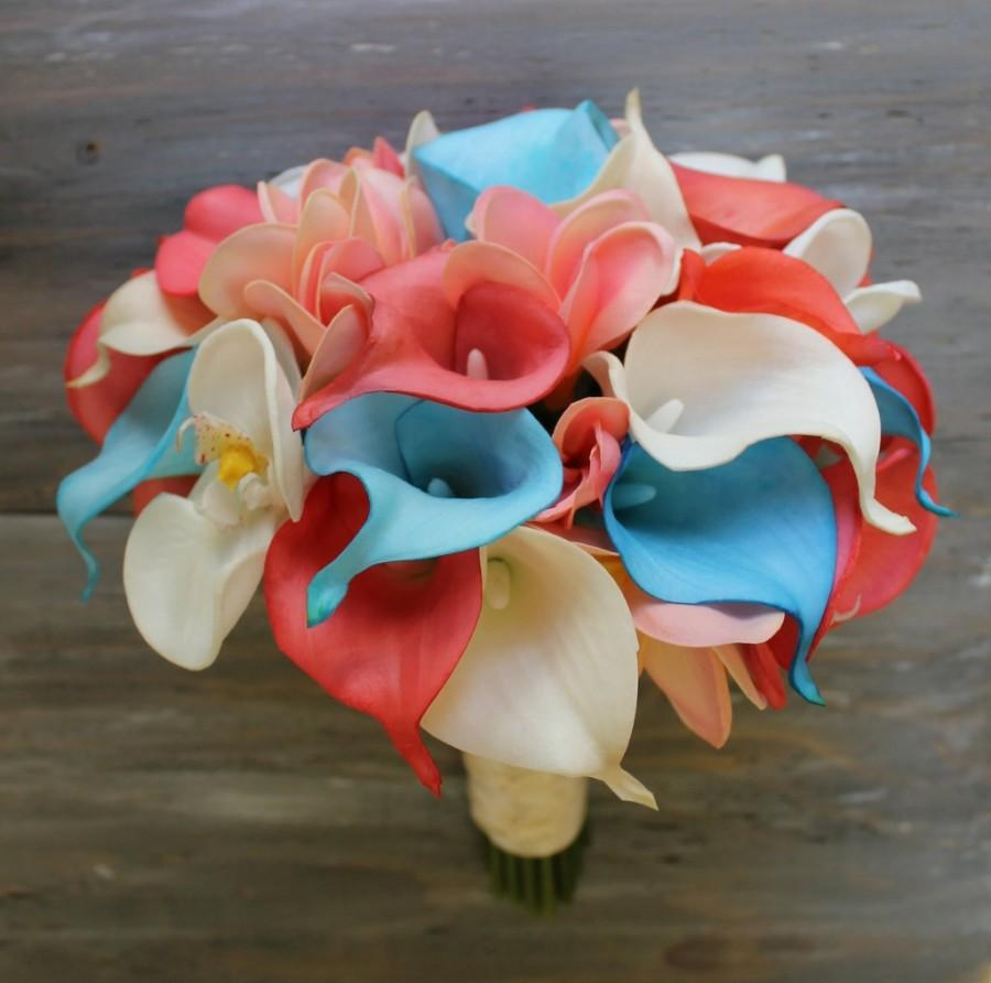 3f78c28719fc5 Tropical Wedding Bouquet Turquoise and Coral Bouquet Bridal Bouquet Real  Touch Coral Bridal Bouquet Wedding Bouquets