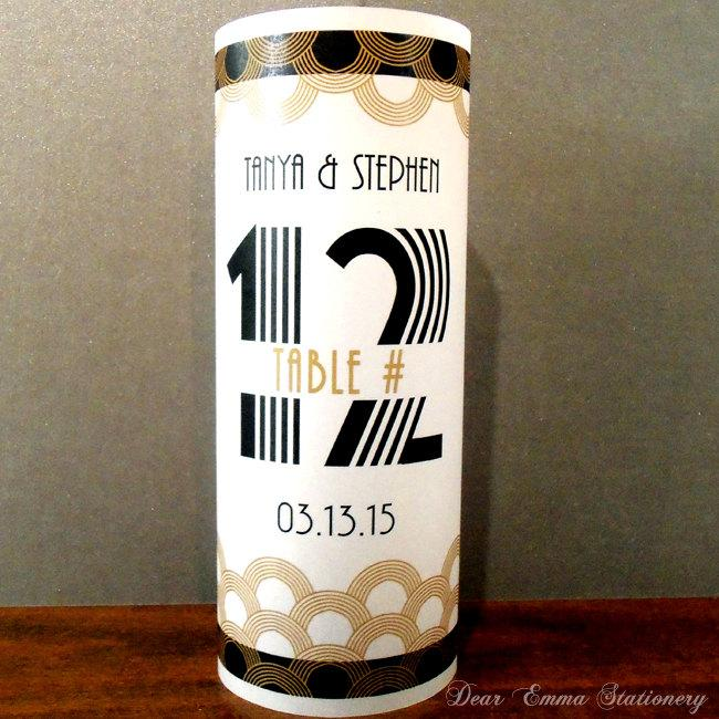 Mariage - Old Hollywood Art Deco Luminary Table Numbers - 8.5 inch - Wedding Centerpiece, LED tea light, scallops, black and gold