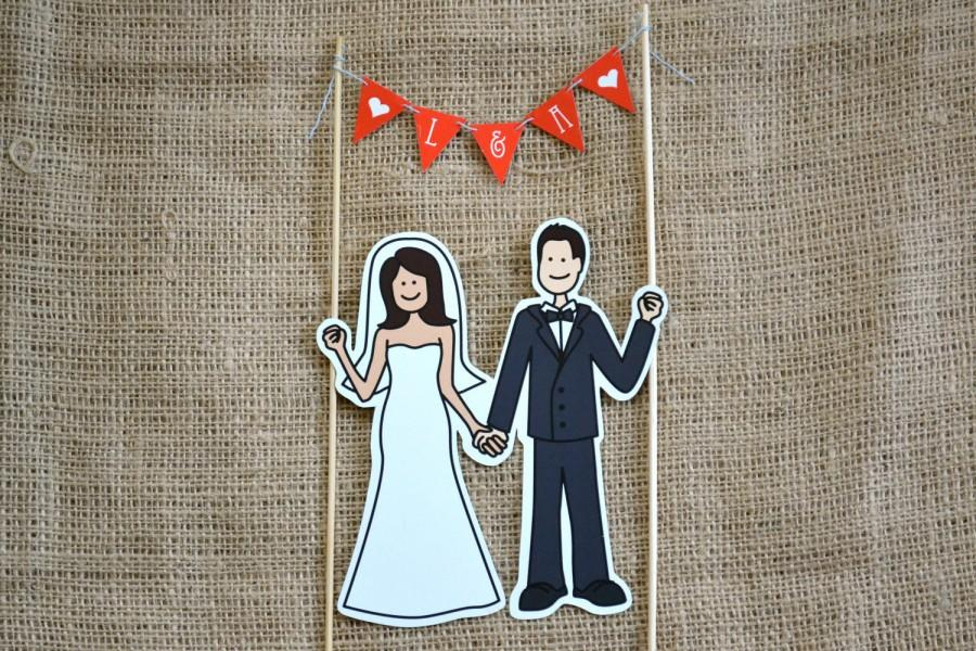 Mariage - Illustrated Cake Topper and Pennant Banner - Customizable