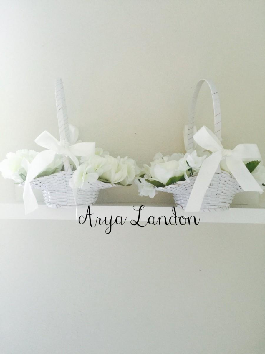 Mariage - White Flower Girl Basket With White Roses and White Flowers