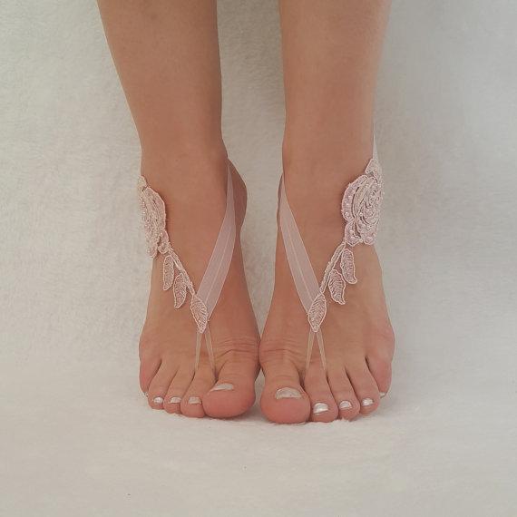 Свадьба - beach wedding barefoot , blus pink , ivory , black , smoked blue , white , champagne sandals shoes bridal spectacular barefeet bridesmaid