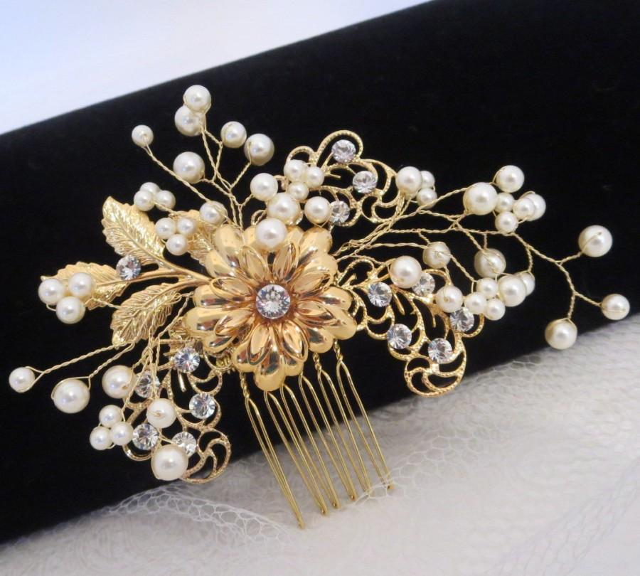 Mariage - Gold Wedding headpiece, Bridal hair comb, Pearl hair comb, Bridal hair clip, Swarovski crystal headpiece, Bridal jewelry,  Bridal hair clip