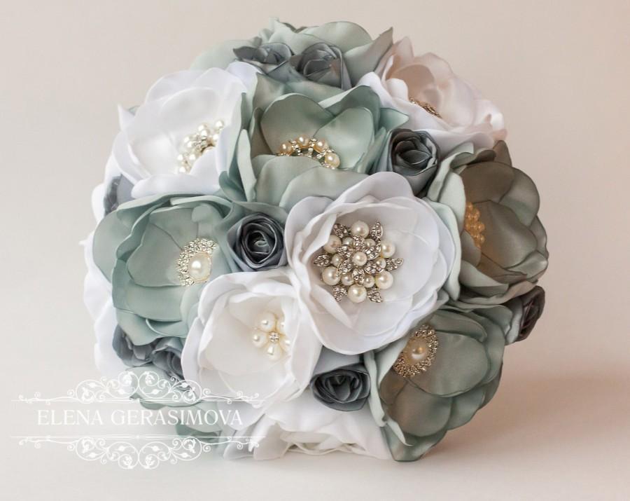 SALE!!! Brooch Bouquet, Gray Silver Fabric Wedding Bouquet, Unique ...