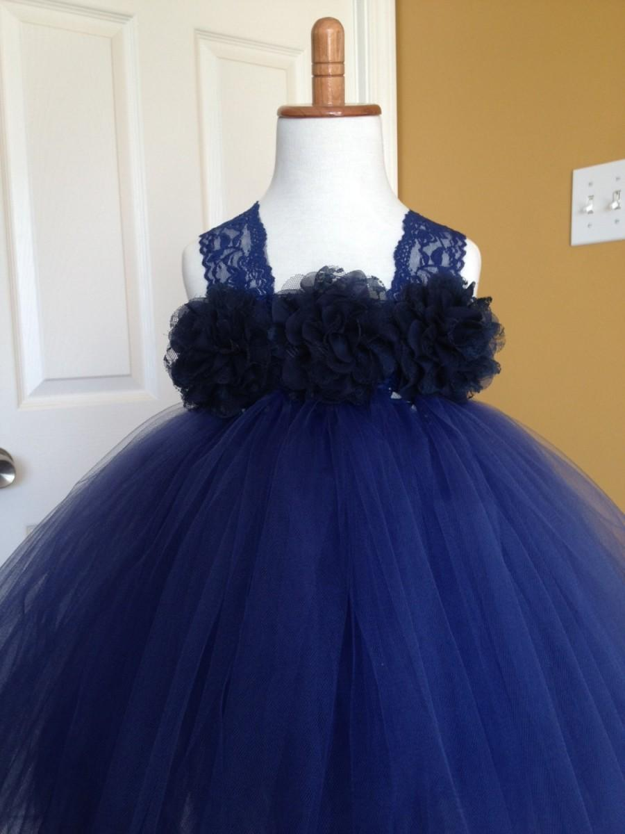 Mariage - Navy Blue Flower Girl Tutu Dress, Chiffon Lace Flowers,  Wedding, 2T, 3T, 4T, 5, 6, 7, 8, 9, 10, 12