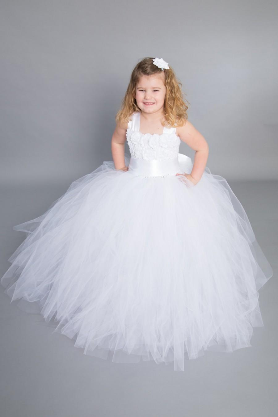 Mariage - Flower girl dress - tulle flower girl dress- First Communion -Infant/Toddler - Pageant dress - wedding - Princess dress -White flower dress