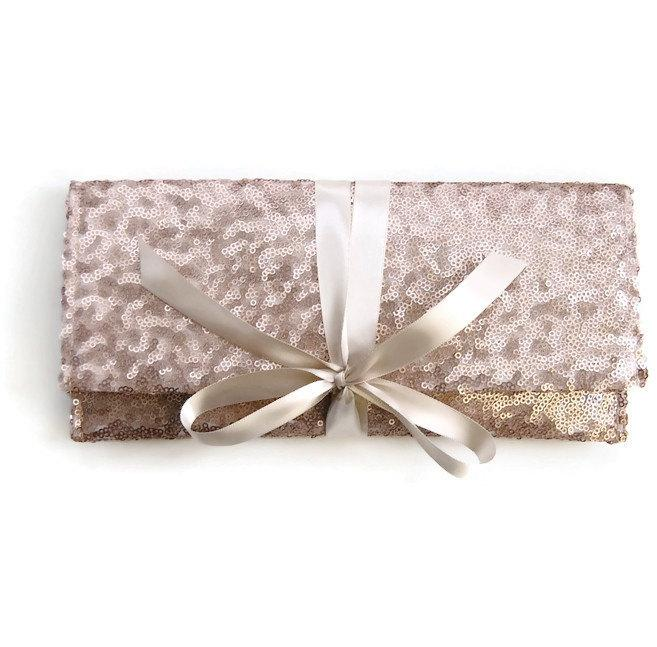 Mariage - Champagne Sequin Clutch // Blush Nude bridesmaid clutch // Sparkle glitter envelope slim wedding bag // Custom colors