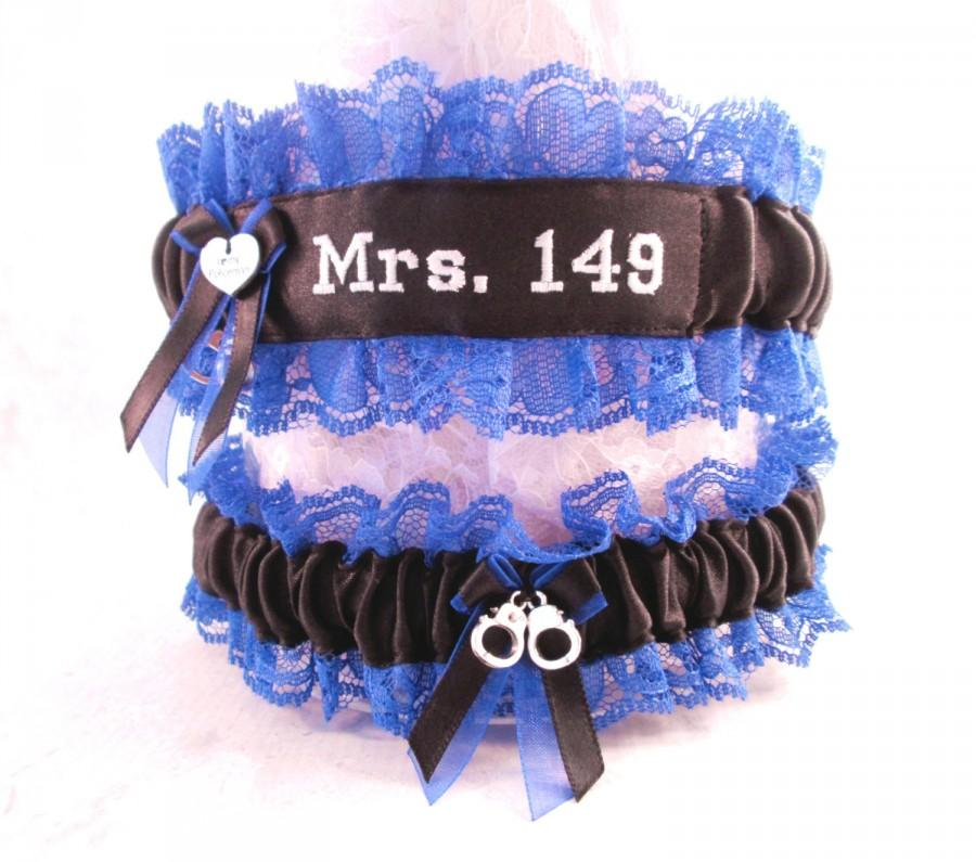Свадьба - Custom Police Wedding Garters - Personalized Embroidered Garters - Something Blue Garter set - Police Wedding Gift set.