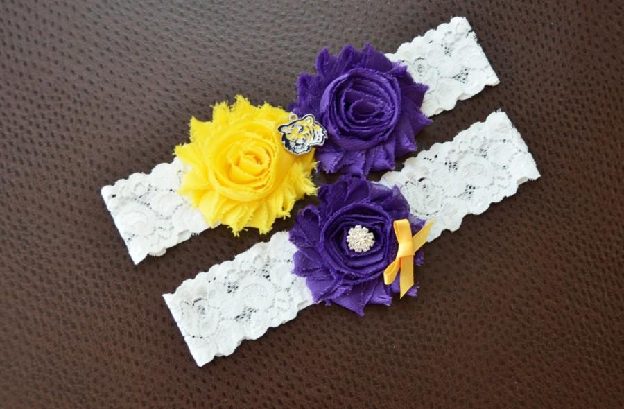 Mariage - LSU Tigers Wedding Garter Set, LSU Garter, LSU Bridal Garter Set, White Lace Wedding Garter, Louisiana State Garter