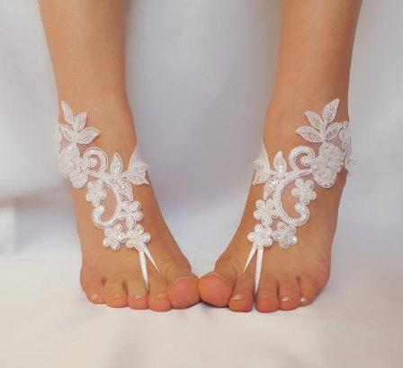 Mariage - White , ivory lace barefoot sandals  wedding barefoot , Flexible wrist lace sandals  Beach wedding barefoot sandals , White barefoot sandals