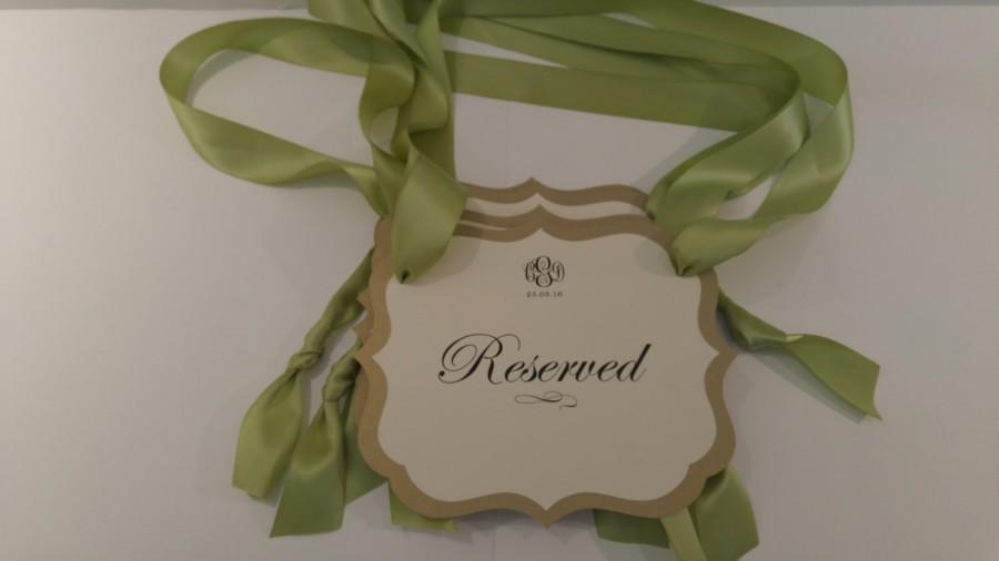 Reserved Seating Pew Signs For The Bride And Grooms Family During Your Wedding Ceremony Great Selection Of Colors