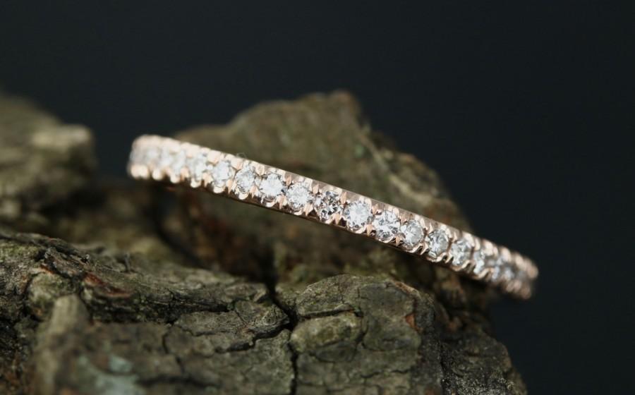 Свадьба - Sally 14k Rose Gold Diamond Half Eternity Matching Band Promise Band Wedding Ring Anniversary Ring Stack Ring (Bridal Wedding Set Available)