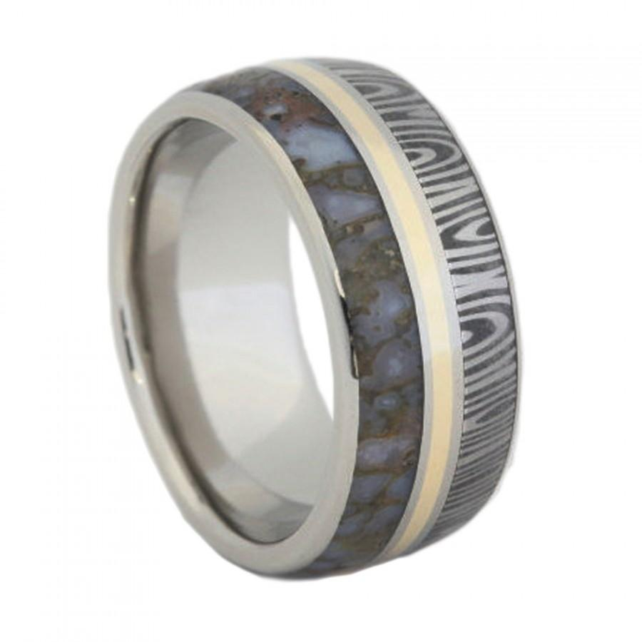 Mariage - Stainless Steel Ring inlaid with Damascus, Dinosaur Bone and 14K Yellow Gold
