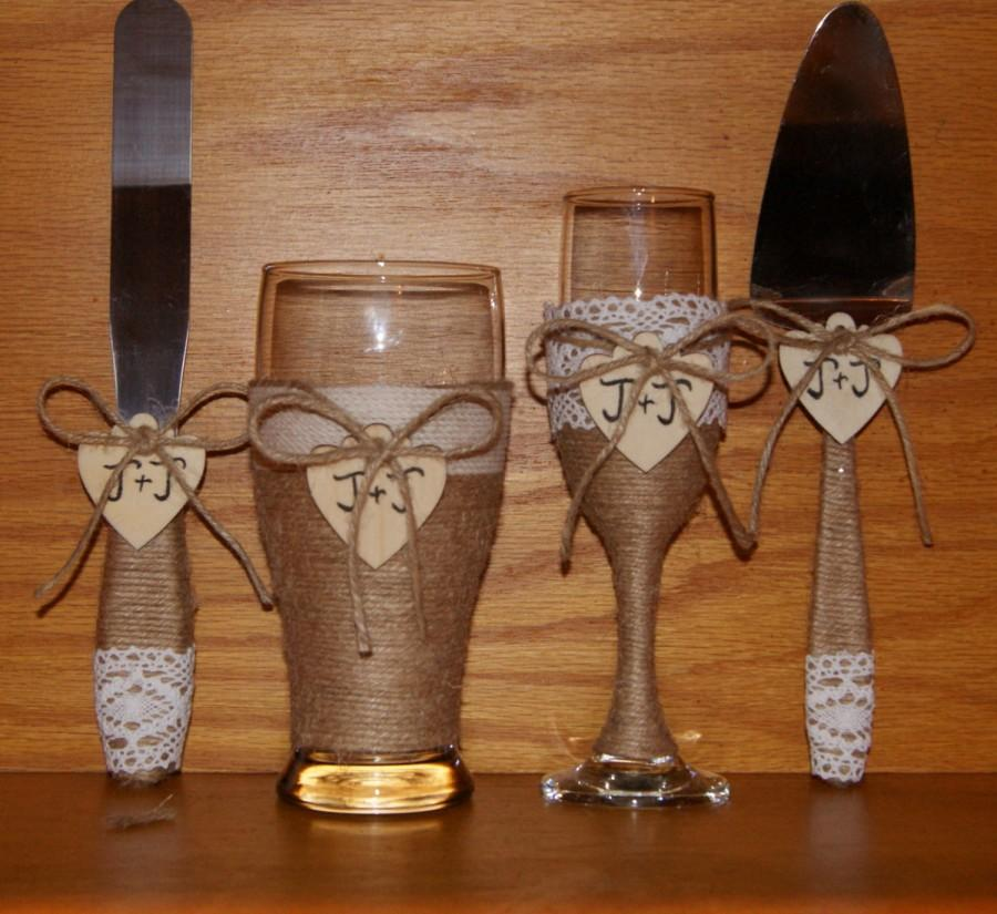 Rustic Wedding Champagne Flute And Beer Gl With Cake Serving Set Country Toasting Gles Cutting