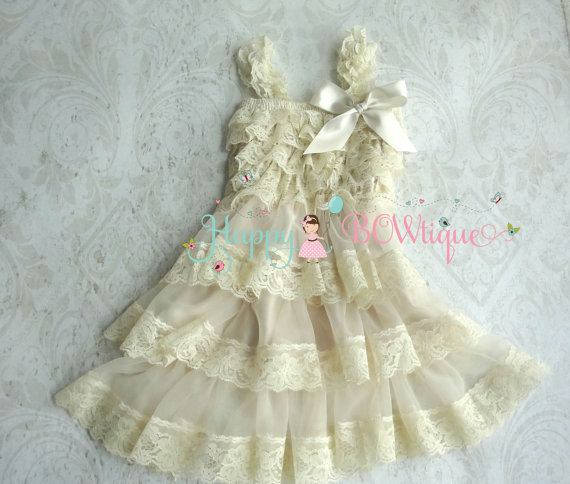 Hochzeit - Rustic flower girls' dress,Champagne Beige Chiffon lace dress, Girls Fall Country Dress, Baby Girls Dress,Ivory dress,Girls Champagne dress