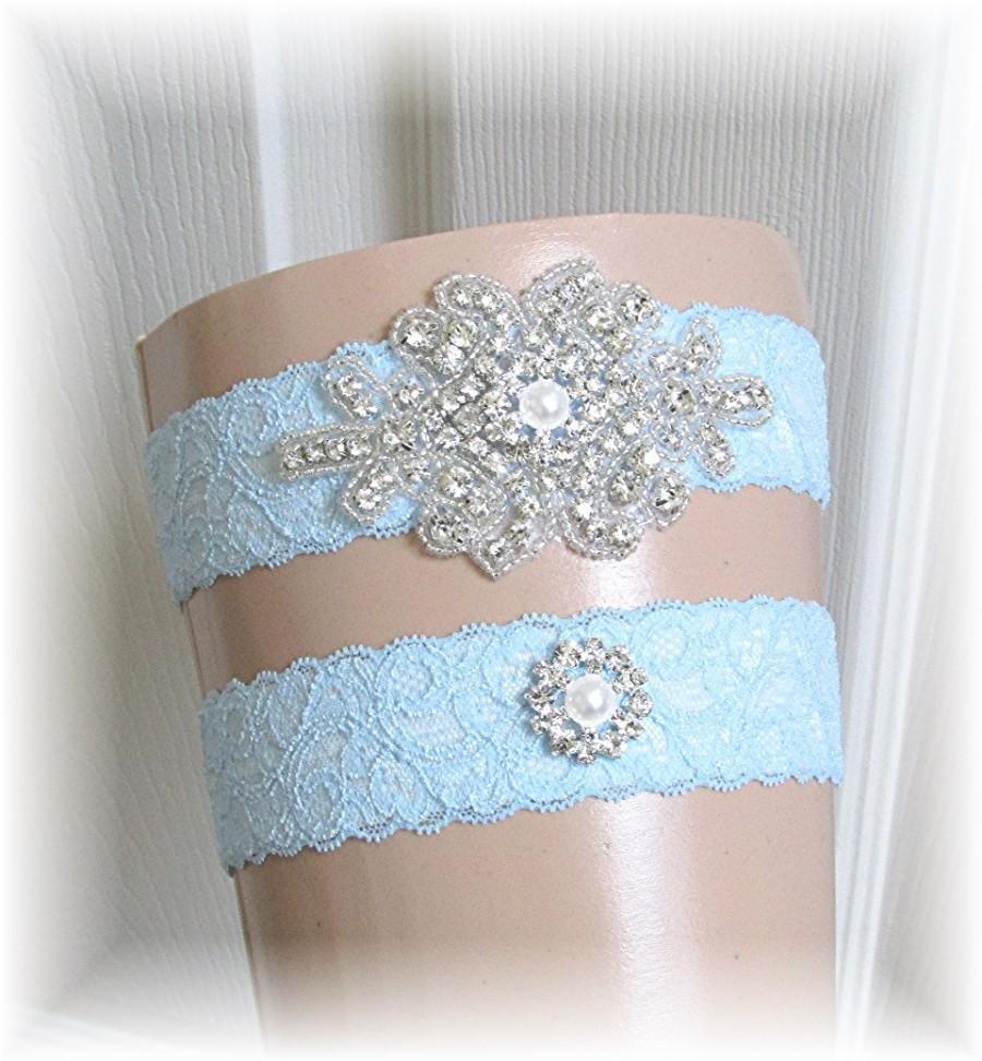 Свадьба - Blue Bridal Garter Set, Something Blue Wedding Garter Set, Bride Keepsake and Toss Garters, Garter Set, Stretch Lace Garters with Crystals