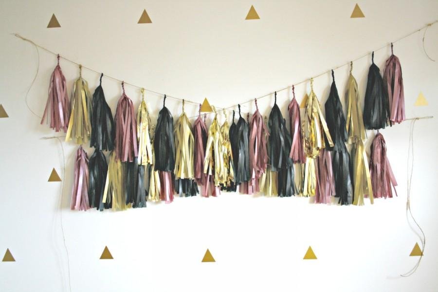 Dusty Rose Gold And Black Tassel Garland Pink And Gold Party