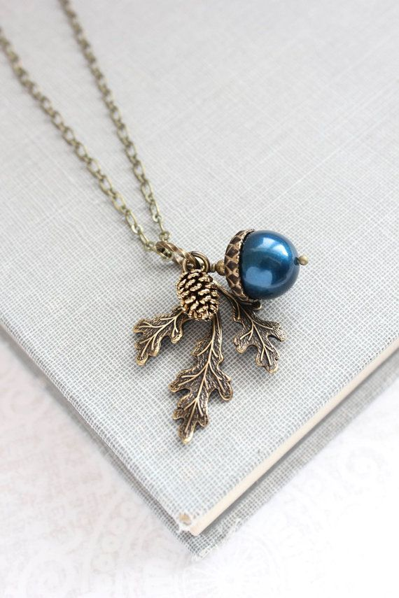 Mariage - Navy Pearl Acorn Necklace Rustic Nature Charm Pendant Pinecone Branch Leaf Oak Woodland Wedding Autumn Jewelry Bridesmaids Gift Peacock Blue