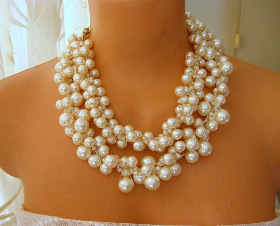 Свадьба - Ivory Wedding Statement Necklaces crocheted pearls