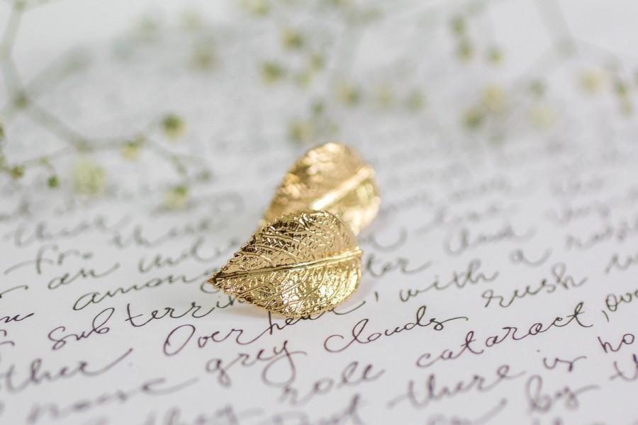 Свадьба - Gold Leaf Bridal Earrings, Gold Stud Earrings ,Leaf Earrings, Bridesmaid Earrings, Bridal Earrings Set, Golden Leaf Earring, Bridesmaid Gift